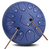 13 Notes 12 Inches Lotus Steel Tongue Drum Percussion Instrument Hand Pan Drum with Free Padded Travel Bag & Mallets