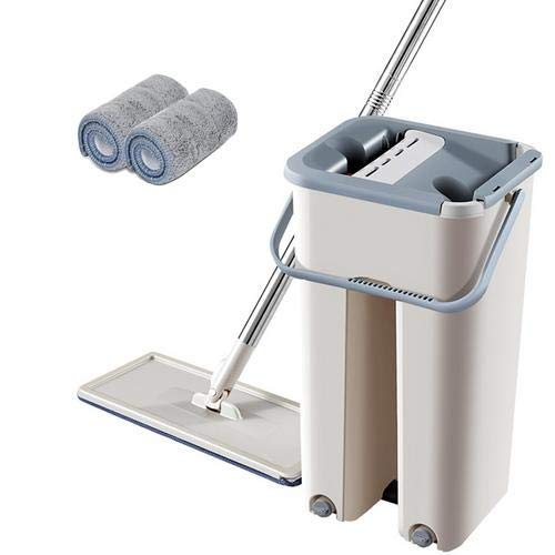 circulor Mop Eimer System, Flach-mopp Eimer Set, Set Teleskopstange Mikrofasermopp 60-128cm, Eimer + Mopp +2/4/6/8 Lappen
