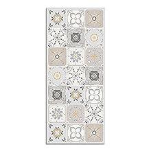 Alfombra Vinílica para Cocina, 140 x 60 cm, Diseño de Baldosas, Color Beige, ALV-103
