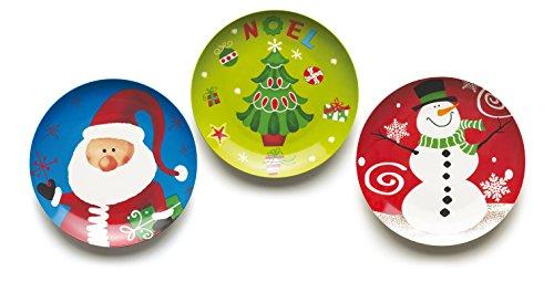Excelsa Christmas Set Piatti Panettone, Ceramica, Multicolore, 30x30x2 cm, 3 unità