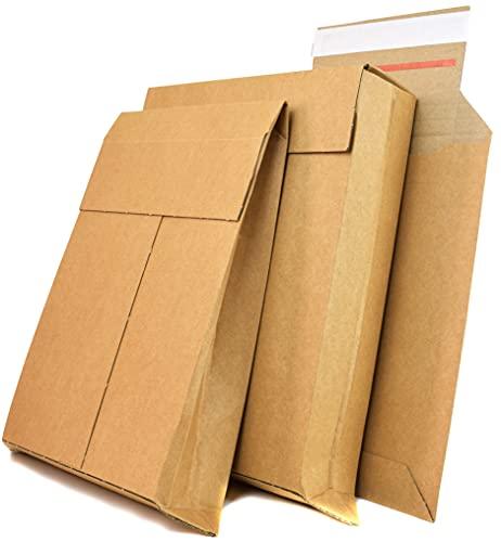 BY BE YOURS Pack 25 Cajas Cartón Medianas para Envíos - Configurable en Forma de Sobre, Bolsa o Caja - Doble Cinta para Sellado y Apertura - Fabricadas en España
