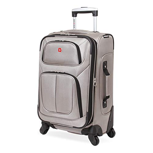 SwissGear Sion Softside Luggage with Spinner Wheels, Pewter, Carry-On 21-Inch