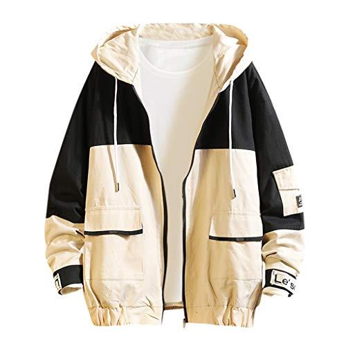 MAYOGO Dünne Herren Sweatjacke Übergangsjacke Zip Kapuzen Koreanischer Stil Herrenjacke Freizeit Jacke für Männer (Schwarz, M)
