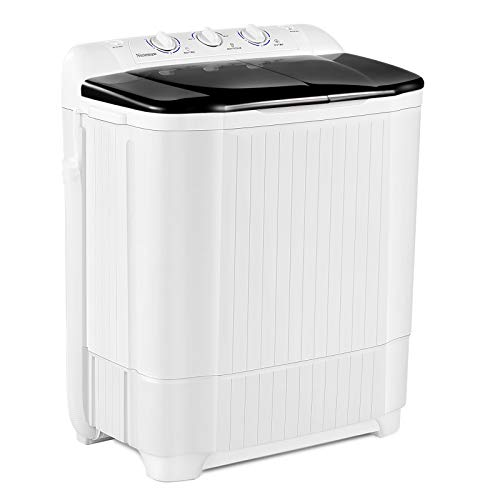 Portable Washing Machine, 21.5 lbs Mini Compact Twin Tub Washing Machine, Wash Tub (13.5lbs) and Spin-Dry Combo (8 lbs), Timer Control with Soaking Function for Apartment, Dorms, RVs, Camping and More