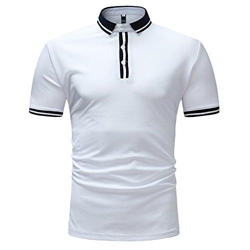 MNRIUOCII Herren Poloshirts Kurzarm Slim Fit Sommer T-Shirt Men's Polo Shirts Stretch Kurzarm Polohemd Polo Shirts Basic T-Shirt MäNner Sport Tank Tops Hemden Sweatshirt (C-Weiß, M)