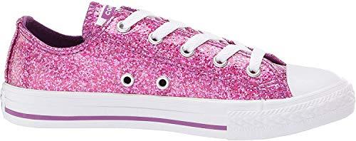 Converse Kids Chuck Taylor All Star Core Ox Sneaker - Symbol Violett Glitzer Weiß, 2 UK
