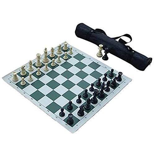TYUIOO Conjunto de ajedrez del Torneo de Mejor Valor - Piezas de ajedrez de Staunton y Tablero de ajedrez de Vinilo Enrollable Verde