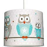 anna wand Hängelampe OWL STARS BOYS – Lampenschirm für Kinder/Baby Lampe mit Eulen in Türkis-Taupe – Sanftes Kinderzimmer Licht Mädchen & Junge – ø 40 x 34 cm
