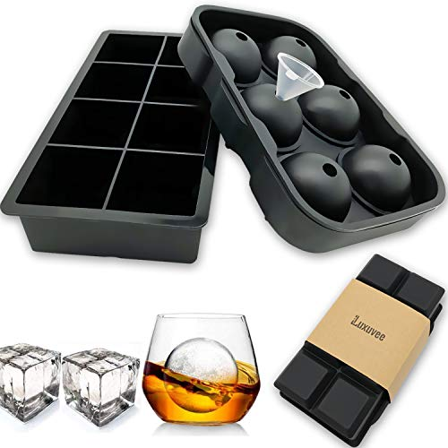 Ice Cube Mold Silicone Set of 2, Reusable Ice cube Tray for Freezer, Large Square and Sphere Ice Ball Maker Mold for Whiskey Cocktails and Bourbon Homemade, BPA Free, 6 Ice Balls+8 Cubes