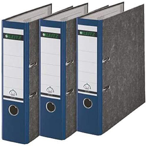 Leitz Qualitäts-Ordner, Wolkenmarmor-Papier, A4, 8 cm Rückenbreite, Blau, 3er-Pack, 310305035