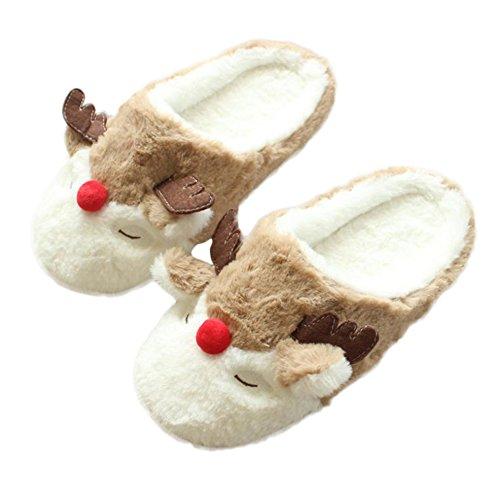 Scrox Pantoufles d'intérieur pour Femme Chaussures antidérapantes Chaudes et Confortables Chaussures Chaudes d'hiver Soin de Vos Pieds Cadeau de la mère Taille européenne: 38-39