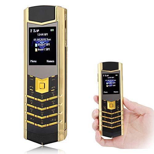 Mavis Laven Teléfono Celular portátil, 1.8 Pulgadas, teléfono móvil Masculino, Tarjeta SIM Dual, Cuerpo de Metal, 2G, teléfono de Negocios Recto para Personas Mayores