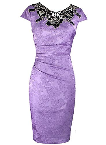 Robert Reyna Fashion Womens Embroidered Fabric Ruched Bodycon Party Cocktail Dress,16,Purple