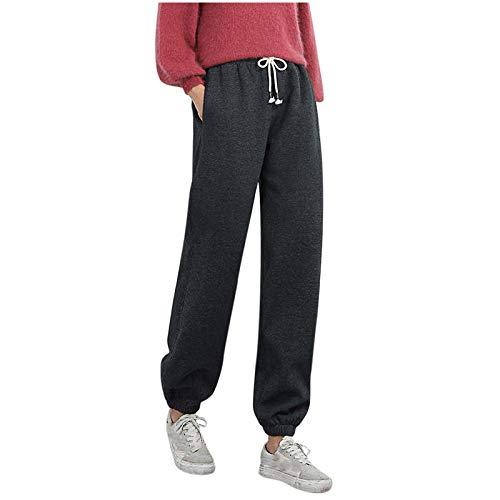 JINGFAN Pantalon Femme Pas Cher Hiver Taille Haute Chic Grande Taille Elastique Ample Couleur Unie Thermique Chaud Coton Cordon Poche Les Pantalons de Survêtement