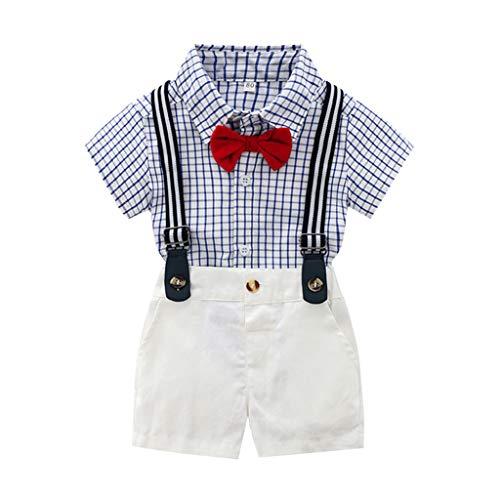 Zylione Jungen Kleidung Set Kinder Baby Gentleman Kurzarm Einfarbig Fliege Kariertes Hemd Hemd + Einfarbig Gurt Shorts Zweiteilig
