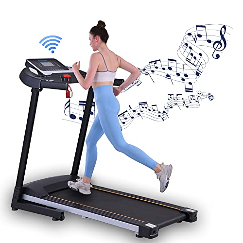 KWIKWI Folding Treadmills, Electric Treadmill Running Machine for Home/Office,Walking Jogging Exercise Machine for Small Space,LCD Display and Pad/Phone Stents,12 Speed Levers,Link Phone Music Player