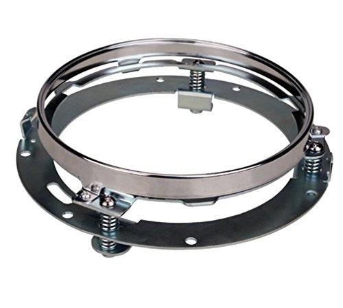 YKS Daymaker - Anello di supporto rotondo per fanali a LED, in acciaio INOX, 7 pollici, per Harley con molle robuste incorporate cromate