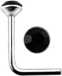 Piercing da naso in argento Sterling 925 con cristallo rotondo da 2 mm, calibro 22