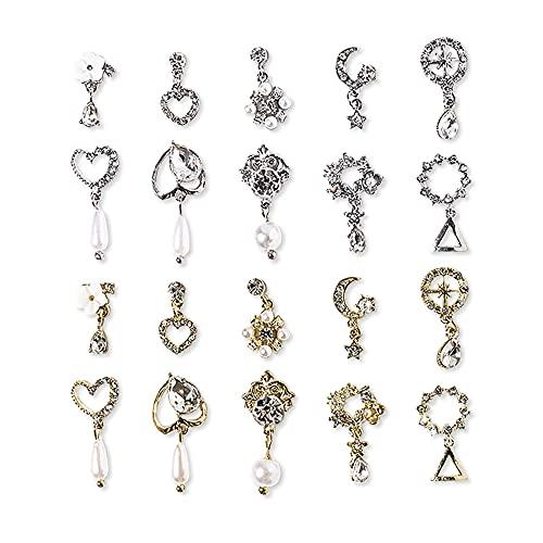 Diamantes de metal de lujo 3D para decoración de uñas, joyería de uñas de diamantes de imitación, accesorios para decoración de uñas DIY Nail Art, 20 unidades
