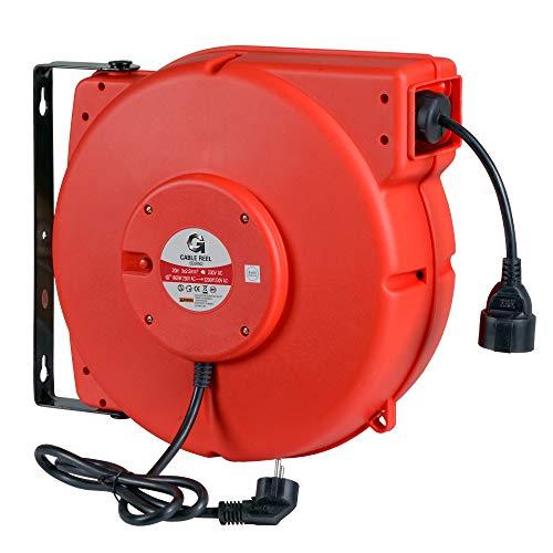 G Carrete de cable eléctrico automático Carrete de cable Carrete de cable de alto rendimiento 2,5 mm² x 20 m con soporte giratorio
