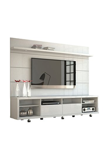 Manhattan Comfort Cabrini TV Stand and Floating Wall TV Panel with LED Lights 2.2 in White Gloss