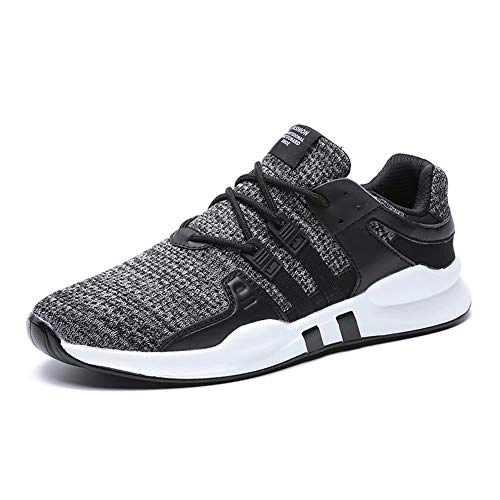 Kinghealth Mens Mesh Running Shoes Breathable Trainers Lightweight Casual Shoes for Men Sneakers for Gym and Sports (Grey EU45 UK 10.5)