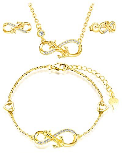 INFINIONLY Juegos de joyas, Pendientes Pulsera Collar colgante para mujer niña, pendientes pulsera collar de plata 925, pendientes pulsera collar con símbolo de infinito y ancla de moda, con circón