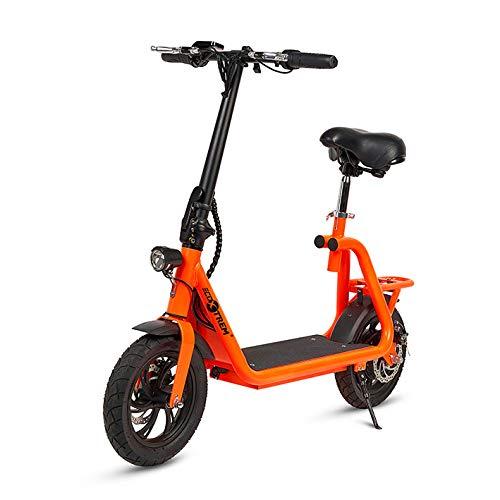 Patiente eléctrico ECOXTREM Scooter eléctrico de Color Naranja, diseño Minimalista con Cesta Trasera y luz LED Frontal. Motor de 350W, batería de Litio 36V. Ideal para desplazamientos urbanos.