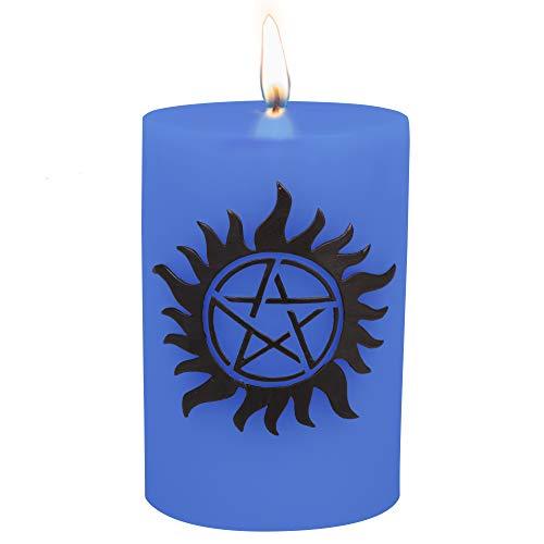 Supernatural Kerze groß AntiPossession Insignia geschnitzt 8,5 Säule Multi ge Kerze mit 80 Stunden Leuchtdauer Abwehr von dämonischer Besessenheit ohne die Tätowierung