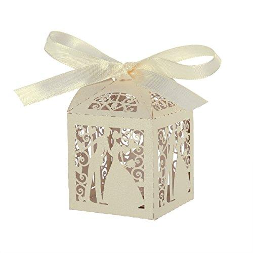 ROSENICE Gastgeschenk Geschenkbox Luxus Hochzeit Süßigkeiten Candy Geschenk Schachteln Bomboniere mit Band - 50 Stücke