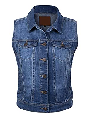 Design by Olivia Women's Sleeveless Distressed Cropped Stone Washed Classic Jean Jacket Vest