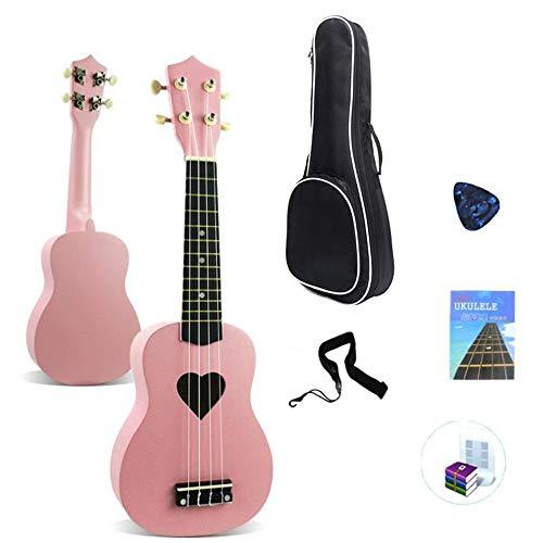 MOMIN Ukulele Principiante Pink Girl Kit Ukelele Instrumentos de Madera de 21 Pulgadas con Guitarra Juego de Regalo de Bolsa Ideal para Principiantes (Color : Pink, Size : 21 Inches)