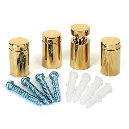 TOPNIKE Brass Flat Top Sign Standoffs, Standoff Holder Screw, 3/4