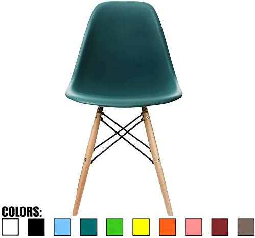 2xhome Teal DSW Molded Plastic Shell Bedroom Dining Side Ray Chair with Brown Wood Eiffel Dowel product image