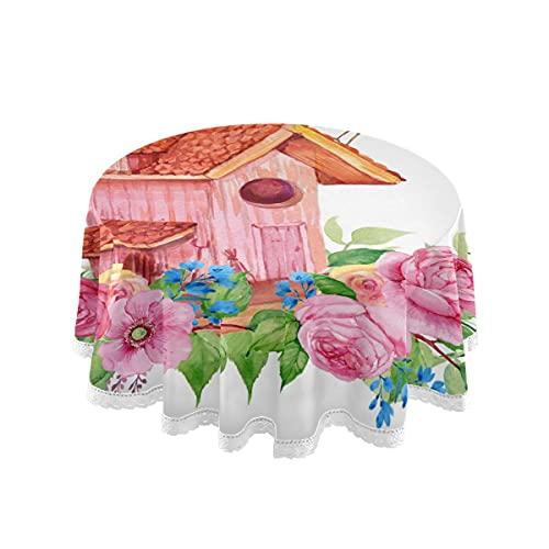 Tovaglia rotonda da 150 cm con motivo a casetta per uccelli e fiori, lavabile in poliestere, tovaglia decorativa in pizzo, per cucina, sala da pranzo, casa, feste, matrimoni, picnic, campeggio