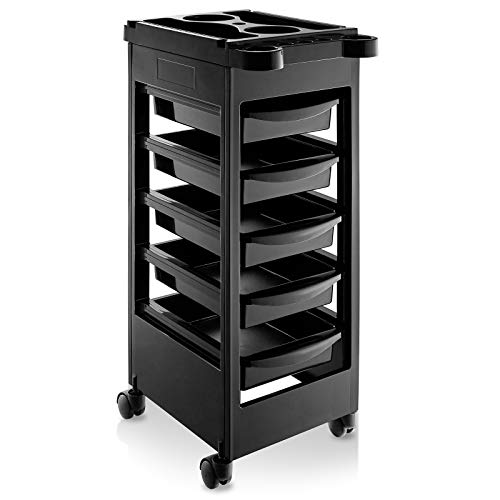 Saloniture Beauty Salon Rolling Trolley Cart with 5 Drawers