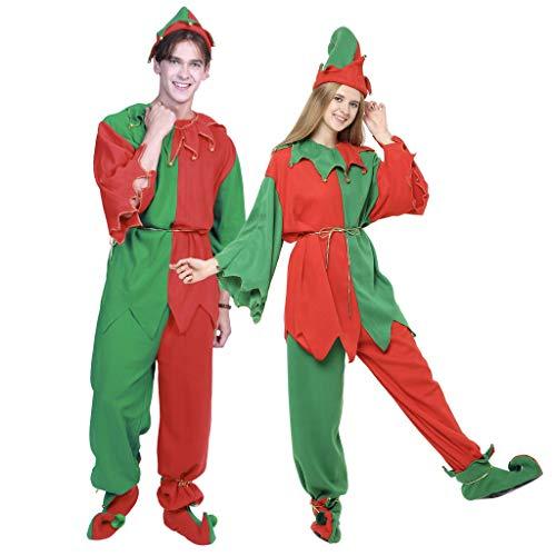 ReneeCho Disfraces de Navidad para Adultos Disfraz de Duende de Santa Traje de Duende para Mujer Vestir para Hombre