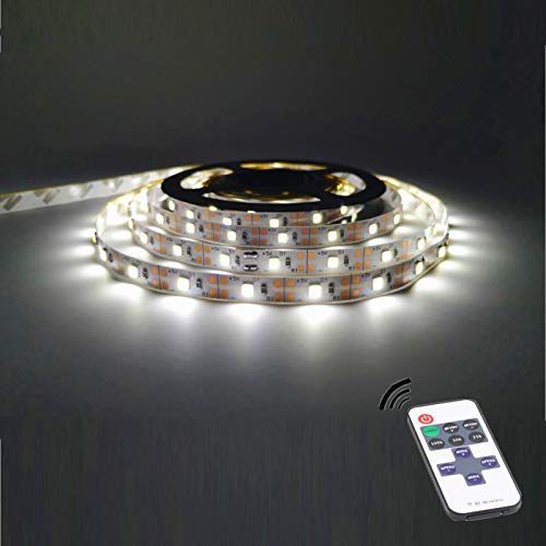 Led Strip Lights Battery Powered with Remote Control;5M / 16.4ft Battery Powered String Light with Led Light Battery Powered Flexible Ribbon Light, 300leds Cool White (White)