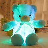 DYDA6LED light up orsacchiotto di peluche, orso di peluche super morbido con papillon peluche con luce LED colorato flash New Year Birthday Gift for Kids, Blue, 50 cm