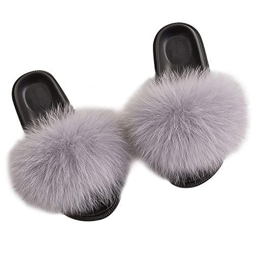 MAGIMODAC Fell Pantoffeln Pelz Kunstfell Hausschuhe Sandal Slipper Flauschig rutschfest Damen (Hellgrau, Numeric_38)