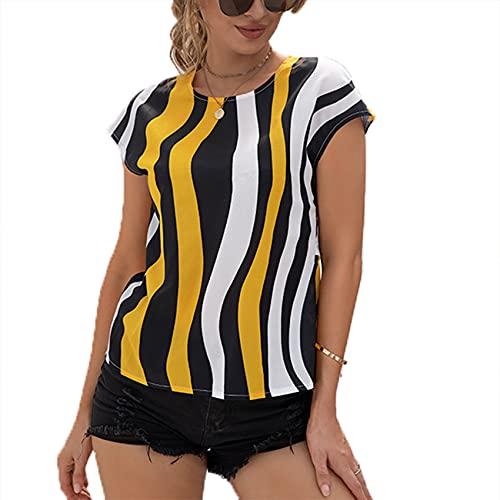 Jersey Informal De Primavera Y Verano para Mujer, Cuello Redondo, Estampado De Rayas Irregulares, Camiseta Holgada De Manga Corta con Espalda Abierta Y Sexy para Mujer