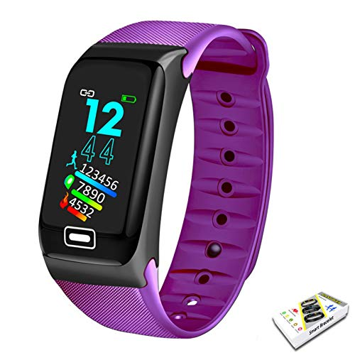 YDL Smart Watch Sport Smart Band Monitor de presión Arterial Monitor de Pulsera Inteligente SmartWatch Pulsera Pulsera para Hombres Mujeres (Color : Purple)