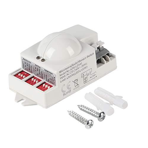 Interruptor de Sensor de microondas de 500W Interruptor de Sensor de Movimiento de Techo Detector de Movimiento de Montaje en Techo de 360 Grados