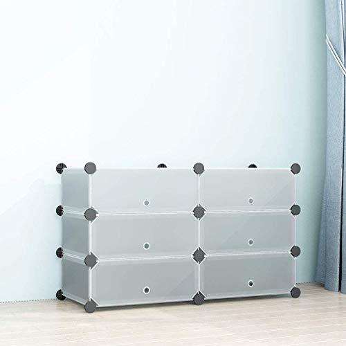 SIMPDIY Zapatero Cubos, 2x3 Cubos Almacenamiento zapateros Modular,Unidad Gran Capacidad organizadores Zapatos con Door, Shoes Cubo Almacenamiento Botas en la Entrada la Sala Estar (93x37x55cm)