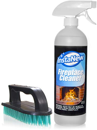 InstaNew Fireplace Cleaner Bundle with Brush, 16 Ounce; Heavy Duty; Cleans Any Wood or Gas Fireplace; Brick, Stone, Hearth; Removes Creosote, Soot, Grease, Ash and More