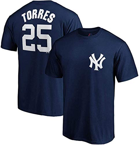 Gleyber Torres New York Yankees #25 Navy Youth Name and Number Jersey T-Shirt (Medium 10/12)