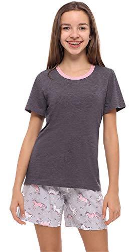 Merry Style Mädchen Jugend Schlafanzug MS10-239(Dunkelmelange/Einhorn, 158)