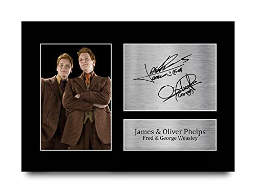 HWC Trading A4 James & Oliver Phelps Harry Potter Fred & George Weasley Regalos impreso autógrafo impreso para la película Memorabilia Fans