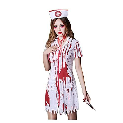 JZTOL Halloween Adulto Traje Fantasma Festival Horror Sangriento Enfermera Vestido con La Sangre Mujer Enfermera Doctor Traje