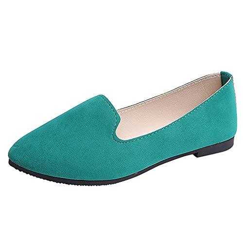 VonVonCo Women Girls Big Size Slip On Flat Shallow Comfort Casual Single Shoes Mint Green